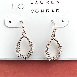 LC Lauren Conrad Rose Goldtone Rhinestone Earrings